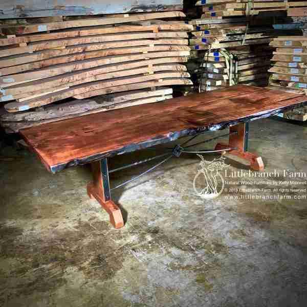 Live edge farm table with metal