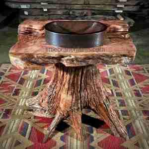 Rustic log pedestal vanity