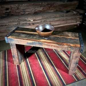 barn wood vanity on rug