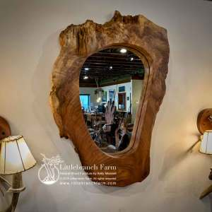 Wood slab rustic mirror