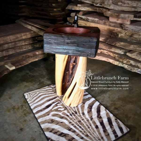 twisted wood log vanity