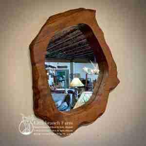 Burl wood slab mirror