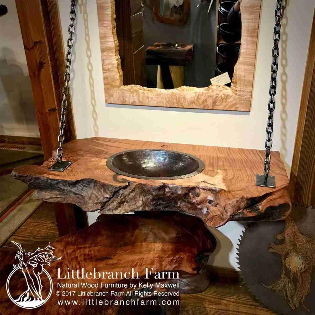 Hanging Wood Slab Bathroom Vanity Littlebranch Farm