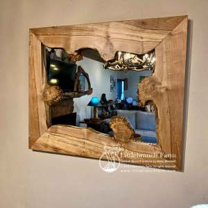 Maple wood slab mirror with burl.