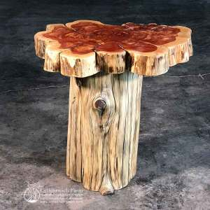 Eastern red cedar rustic log end table