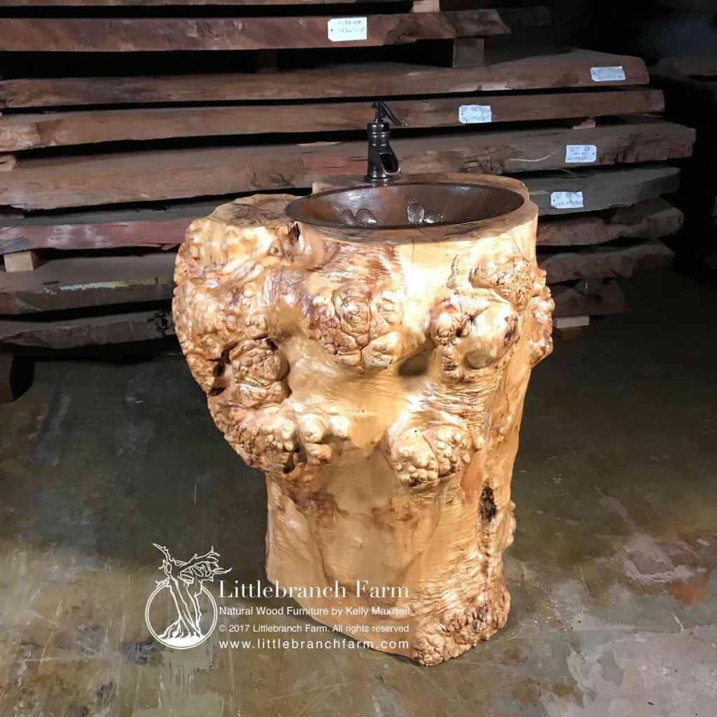 maple cluster burl log vanity