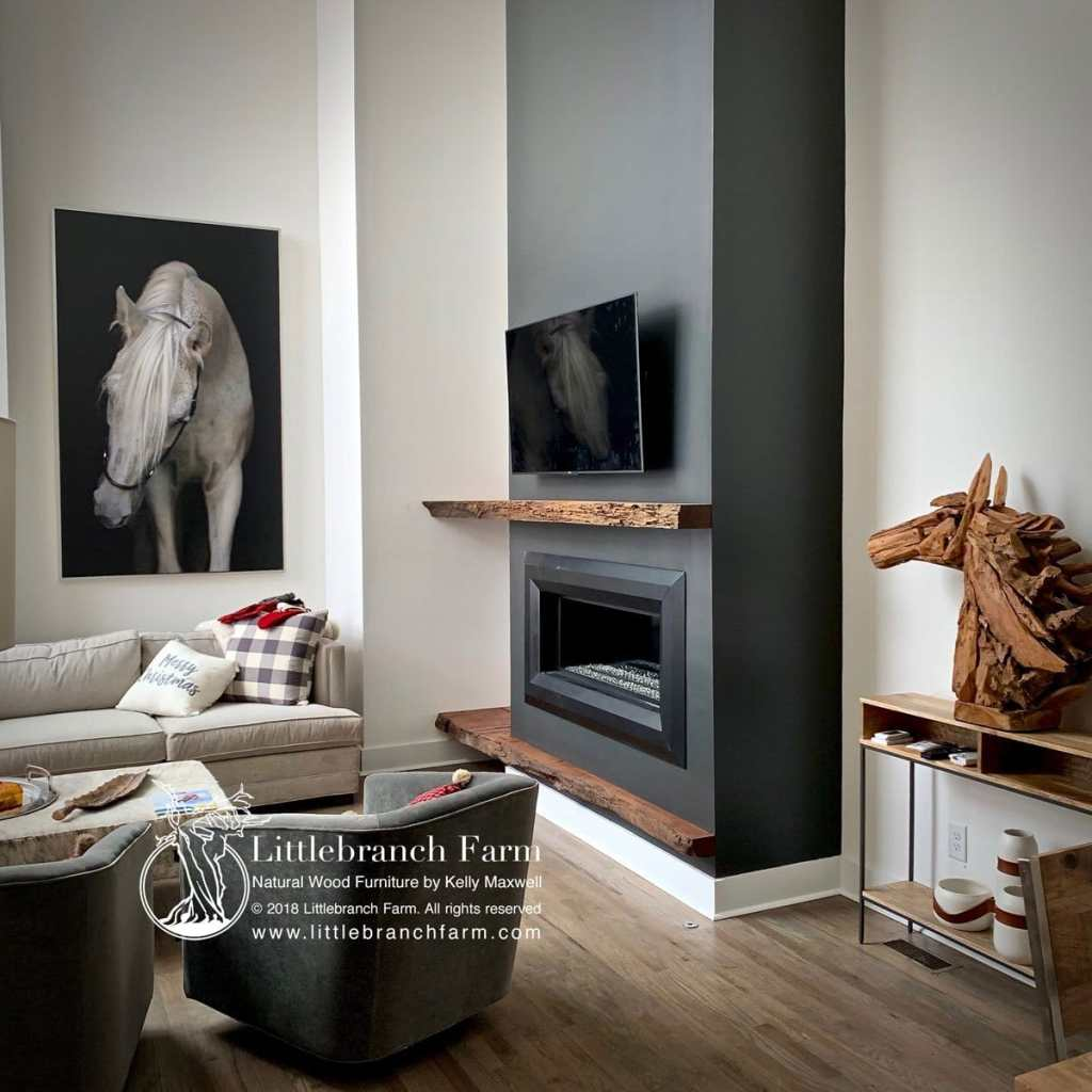 Rustic mantel in rustic modern home decor