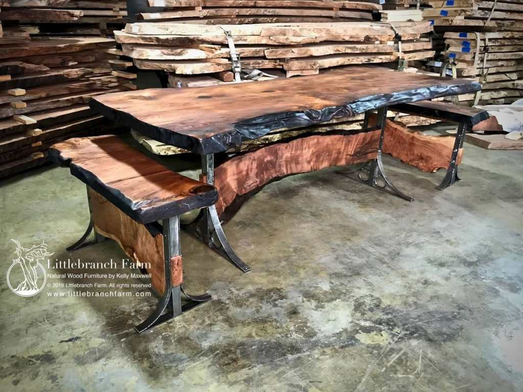 Live edge dining table with metal legs.