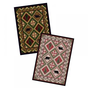 Bears and pine tree area rugs