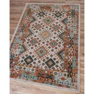 Pastel brown and teal rug