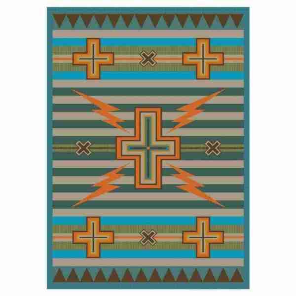 Native lighting bolt rug