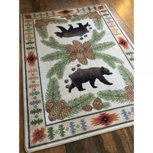 Detailed bear and pine cone rug