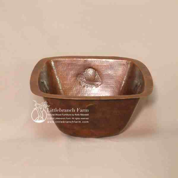 pine cone design square copper sink
