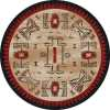 Tan and red round rug