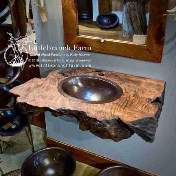 Wood slab floating vanity