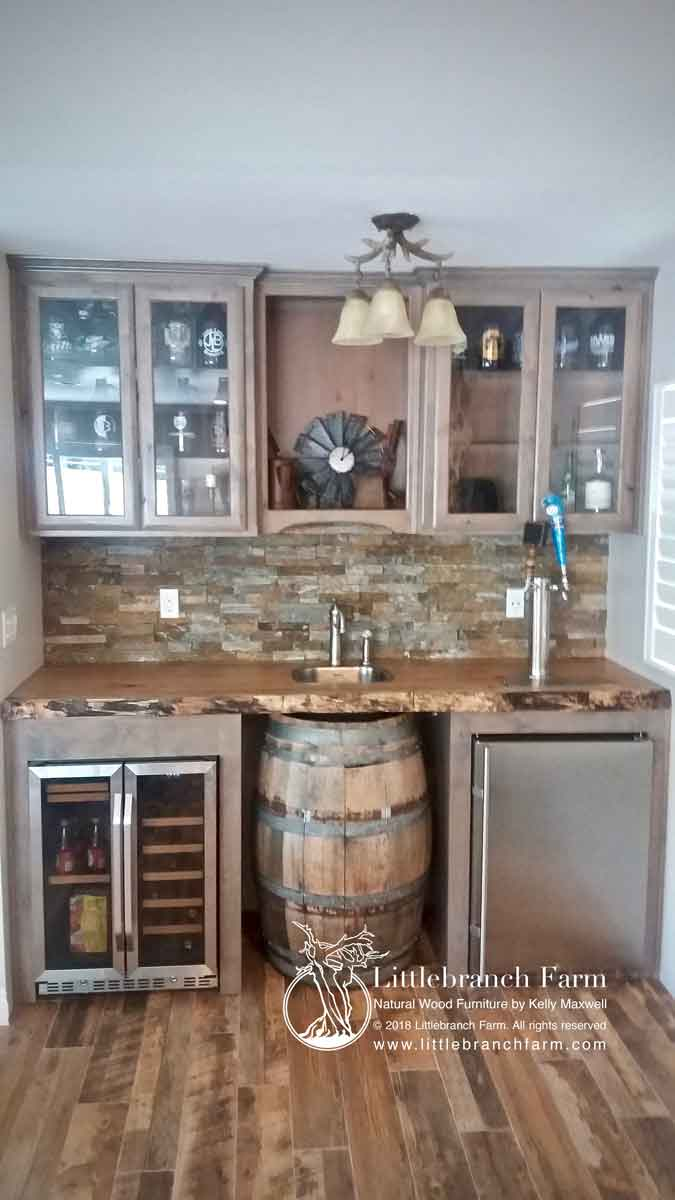 Rustic wood wet bar