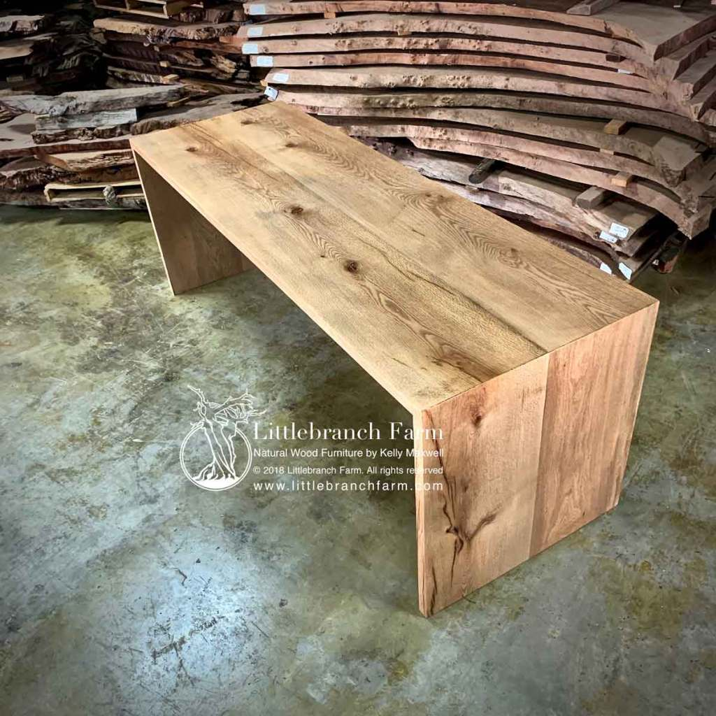 Oak wood plank table with waterfall