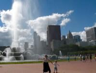 Getting sprayed at Buckingham Fountain.