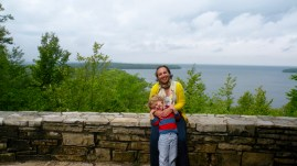 On a cliff overlooking Green Bay.