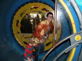 Oliver and his Auntie Foo in the human hamster wheel.