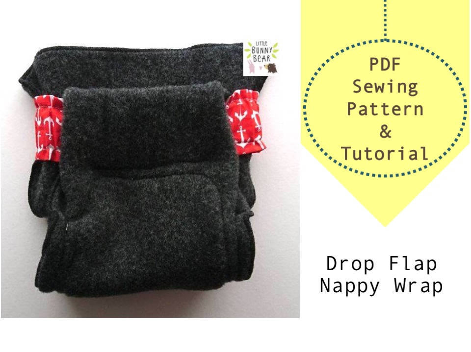 Drop flap nappy system PDF sewing pattern, nappy diaper belt and wrap, cloth diaper, cloth nappy, elimination communication, potty training
