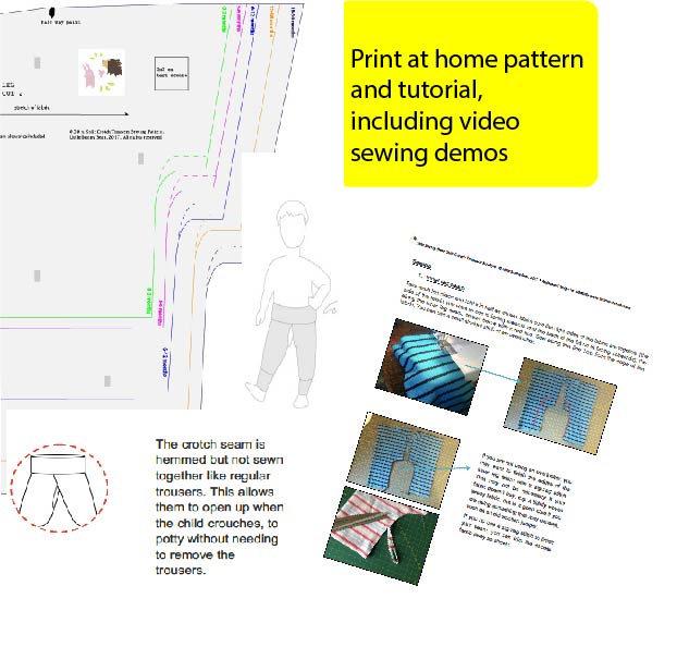 Split Crotch Trousers Pdf Sewing Pattern Sizes 0 30 Months