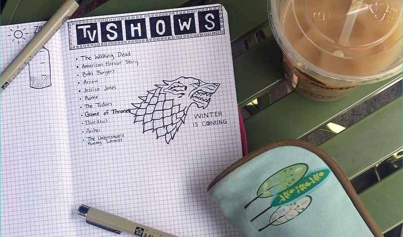 Track Your TV Shows in the Bullet Journal list overview | Littlecoffeefox.com