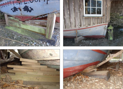 photos of Peggotty's failing boat cradle
