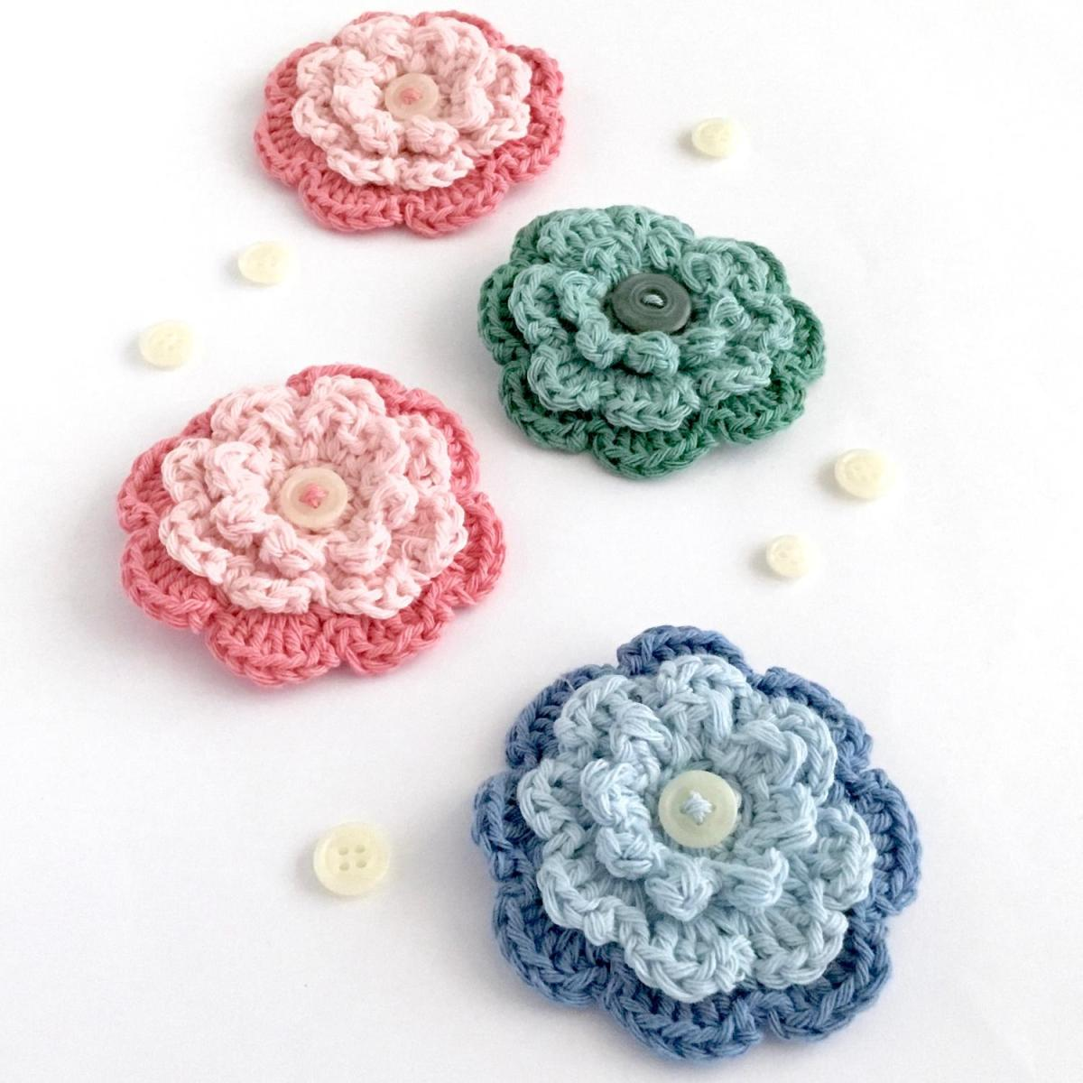Crocheted Brooches Crochet Button Flower Brooches