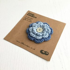 Blue Crochet Flower Brooch