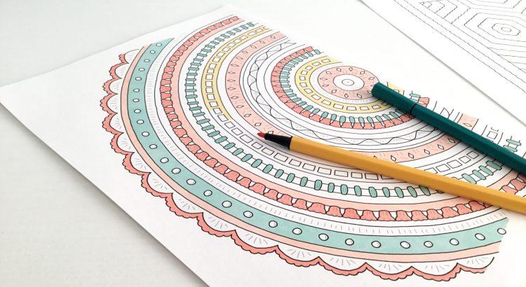 Crochet mandala colouring page