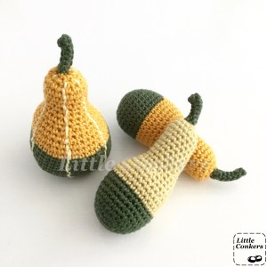 Crochet Bi-coloured Pear Gourds