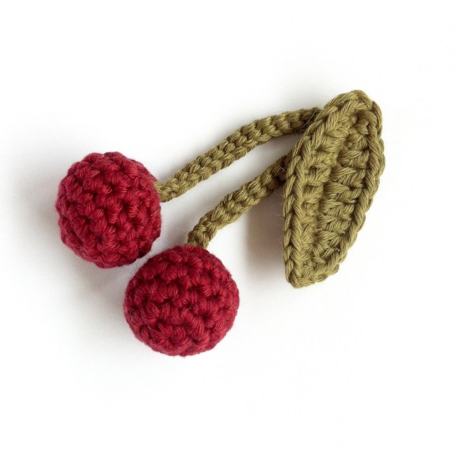 Crocheted Cherries in organic cotton by Little Conkers