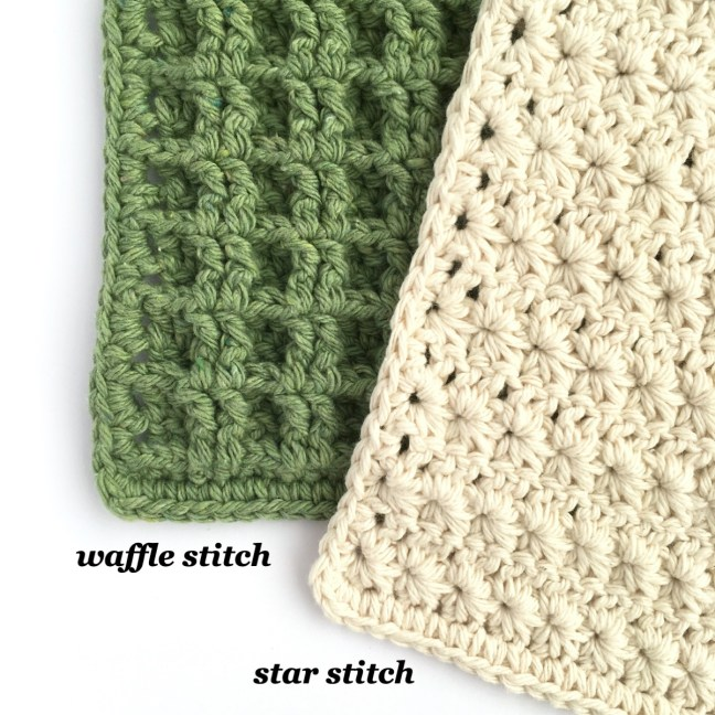 Little Conkers crochet dishcloth patterns in different stitches