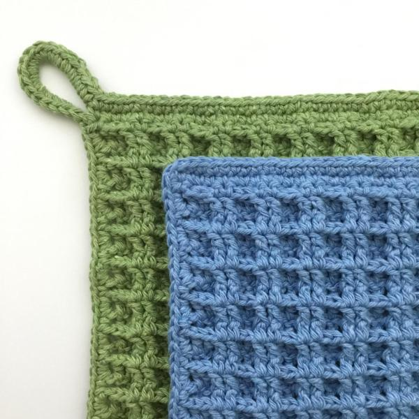 Dishcloth crochet pattern with and without hanging loop