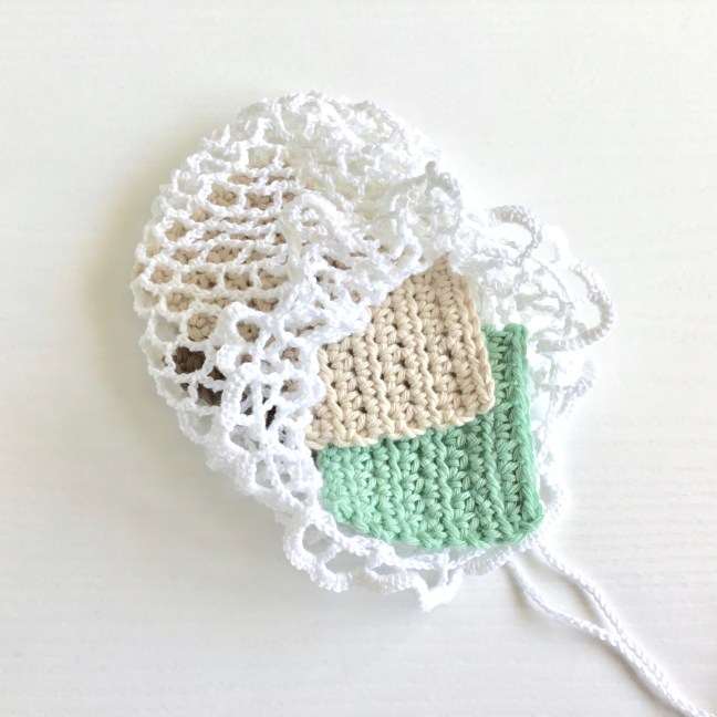 Crochet pattern for reusable face scrubbies and laundry bag