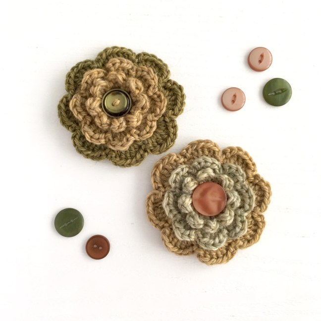 Eco-friendly Woollen Flower Booches with upcycled buttons