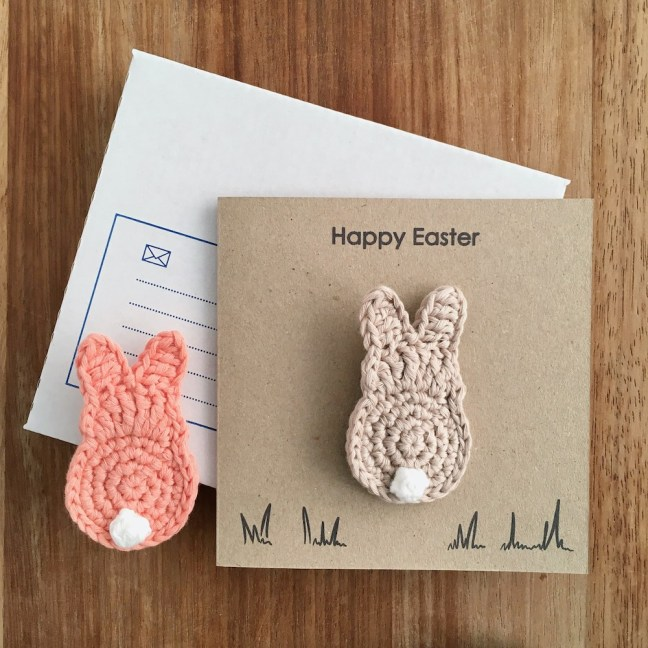 Recycled Easter card with wearable bunny brooch.