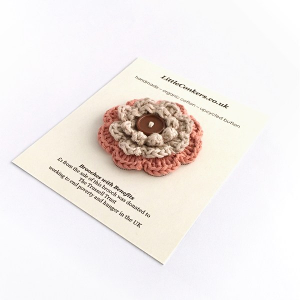 Hand-crocheted organic cotton brooch from the Little Conkers Brooches with Benefits range