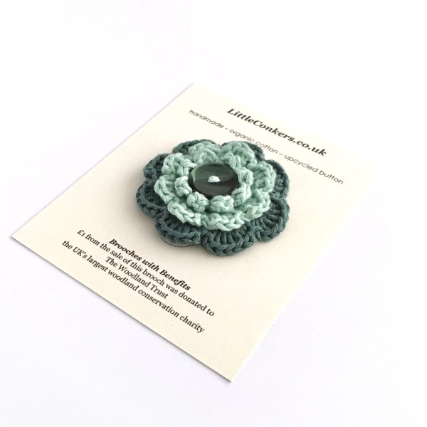 Hand-crocheted green brooch from the Little Conkers Brooches with Benefits range
