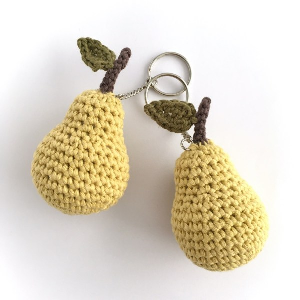 Crocheted mini pear key rings with split ring