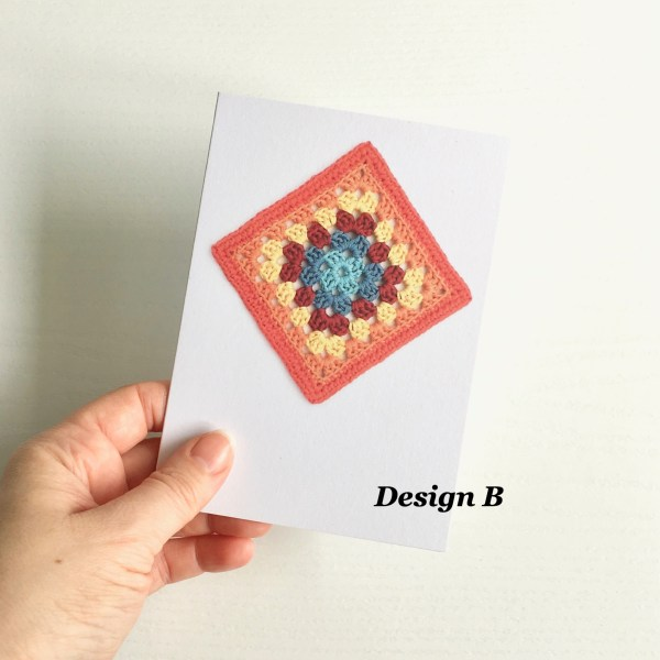 Greetings card featuring a crocheted motif