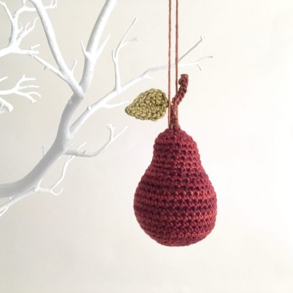 Deep red hanging crocheted pear ornament