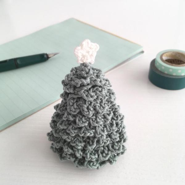 Miniature crocheted Christmas tree in pale green
