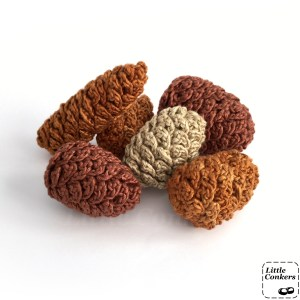 Crocheted pine cone ornaments
