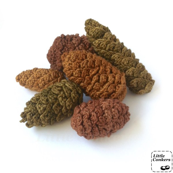 Hand-crocheted pine cone ornaments