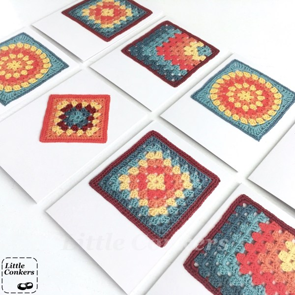 Recycled greetings cards with crochet designs