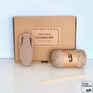Crochet kit in a brown cardboard box