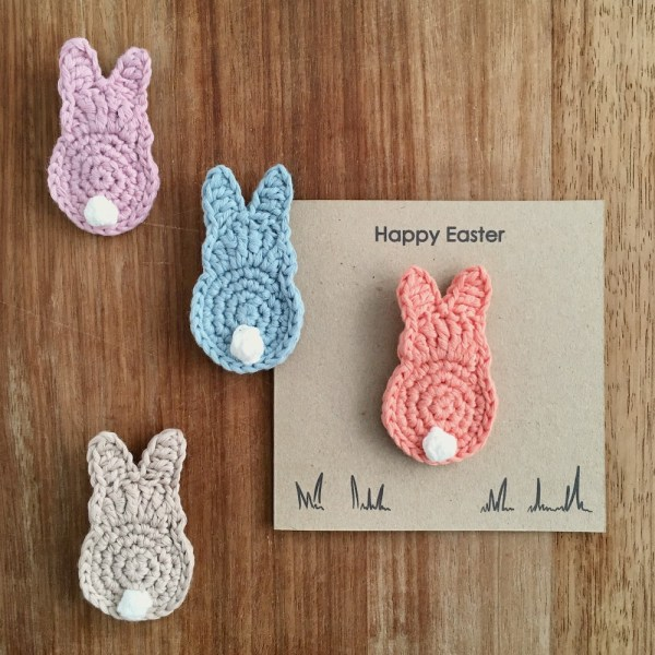 Recycled kraft Easter card with personalised message and organic cotton bunny brooch