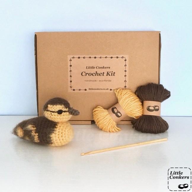 Crochet kit to make a mallard duckling in a brown box